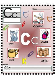 English Worksheets: Letter Cc Vocabulary poster and Writing worksheet