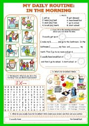 English Worksheet: My daily routine (in the morning) Part 1