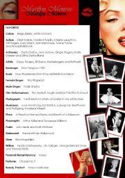English Worksheet: Marilyn Monroe 1/3