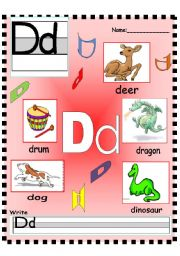 English Worksheets: Letter Dd -Ee - Ff  Vocabulary poster and Writing worksheet