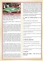 English Worksheet: TEENS�ADDICTIONS : TEEN POKER DANGERS