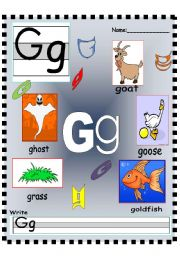 English Worksheets: Letter Gg - Hh Vocabulary poster and Writing worksheet