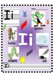 English Worksheets: Letter Ii - Jj Vocabulary poster and writing worksheet