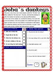 English Worksheets: Reading comprehension Test ( Theme: Smile) episode 2