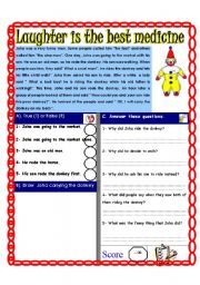 English Worksheets: Reading comprehension Test ( Theme: Smile)