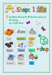 English Worksheets Shops 1