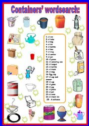 English Worksheet: containers wordsearch
