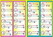 English Worksheet: Bookmarks - What time is it?-Telling the time.