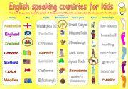English Worksheet: English speaking countries for kids