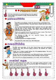 English Worksheet: PREHISTORY: BILINGUAL STUDENTS