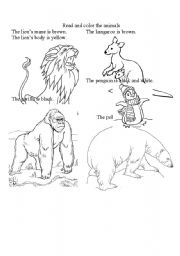 English Worksheets: Coloring Animals!