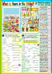 English worksheet: WHAT IS THERE IN THE FRIDGE? FOOD+THERE IS/THERE ARE+QUANTIFIERS (SOME-ANY-A/AN-MUCH-MANY)+QUANTITIES (KEY+B&W VERSION INCLUDED)