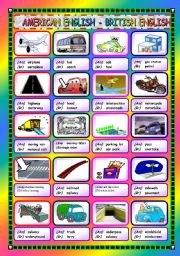 English Worksheet: American and British English - Driving and Travelling