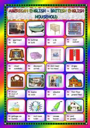 English Worksheets: American and British English - Household