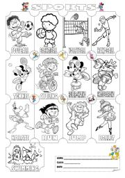 Sports Pictionary (Colouring Worksheet)