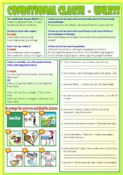 English Worksheet: Conditional Clause - Unless   (B/W & Answers)