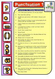 English Exercises: Punctuation: Commas