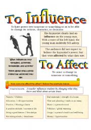 English Worksheets: Reading Comprehension + Vocab: Influence and Affect