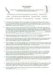 English Worksheets: Life in the 1500s