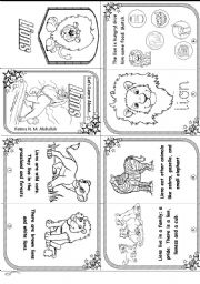 English Worksheets: Let´s Learn About Lions  [ Beginners / Minibook ]
