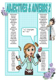 English Worksheet: ADJECTIVES AND ADVERBS POSTER 2