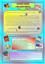English Worksheet: Potato chips - the short history & key (fully editable)