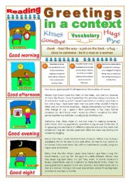 English Worksheet: GREETINGS IN A CONTEXT - (3 Pages) - 2 Reading & Comprehension Texts + 3 Instructions + 5 Exercises + 5 Extra Activities