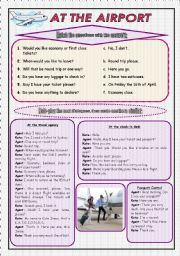 English Worksheet: At the airport (Role-play and Conversation) - 2 pages + B&W version