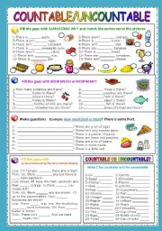 English Worksheet: COUNTABLE/UNCOUNTABLE NOUNS