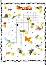 English Worksheets: Crosswords _ Bugs