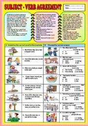 English Worksheet: Subject - Verb Agreement  (part 1)+ KEY