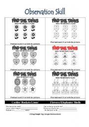English Worksheets: Observation Skills