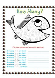 English Worksheet: Sea animals - How many