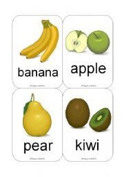 English Worksheet: Fruit / Vegetable Flashcards (Common Fruit et al.) (12 Cards)