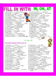 English Worksheet: PREPOSITIONS, IN, AT, ON