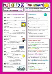 English worksheet: WAS/WERE  THERE WAS/WERE