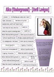 English Worksheets: Song Alice (Underground) - [Avril Lavigne]