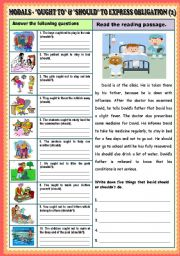 English Worksheet: Modal - ought to and should to express obligation (Part 1) + KEY