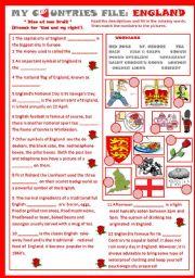 English Worksheet: My Countries File: England