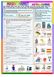 English worksheet: PRESENT PERFECT and time adverbials