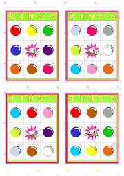 English Worksheets: Bingo Cards  -  Colours