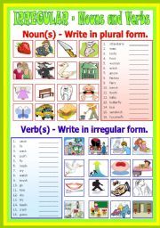 English Worksheet: Irregular Nouns and Verbs