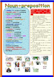 English Worksheet: Noun+preposition
