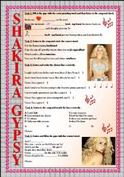 English Worksheet: Shakira Gypsy (LISTENING tasks, FULLY EDITABLE and with KEY included)