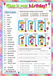 Dates - ordinal numbers:  When is your birthday?