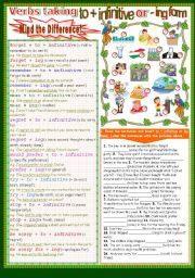 English Worksheets: Verbs taking to+ infinitive or -ing form