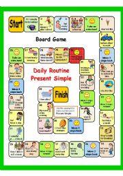 PRESENT SIMPLE + DAILY ROUTINE (PART 4) 2 GAMES - BOARD GAME + key  AND BATTLESHIP - fully editable.