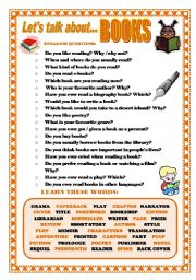 English Worksheet: LET�S TALK ABOUT BOOKS (SPEAKING SERIES 6)