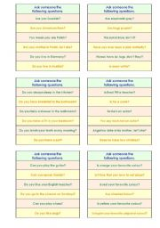English Worksheets: YES OR NO GAME -- ELEMENTARY VERSION (good for adults, too) -- A VERY EFFECTIVE METHOD TO MAKE YOUR STUDENTS TALK! -- SUCCESS GUARANTEED