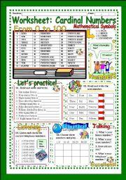 English Worksheet: Worksheet: Cardinal Numbers from 1 to 100 (Exercise + Bingo + Oral )